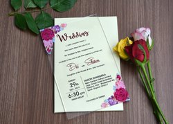 Latest Floral Acrylic Wedding Invite In Multi Color Printing, Size: 8