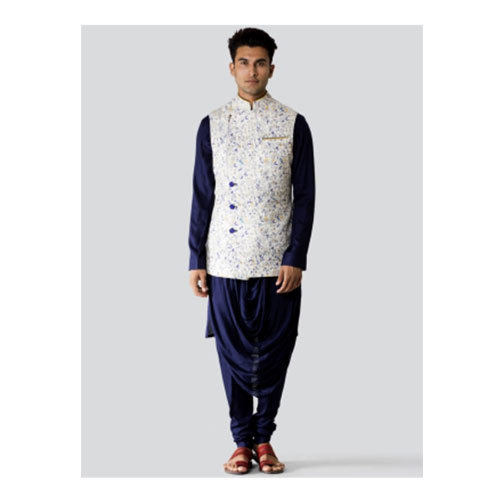 c8d1db8063 Blue And White Party Wear Mens Fashionable Kurta Pajama With Nehru Jacket