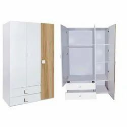 White Wooden Kids Wardrobe, For Home, 5 Years