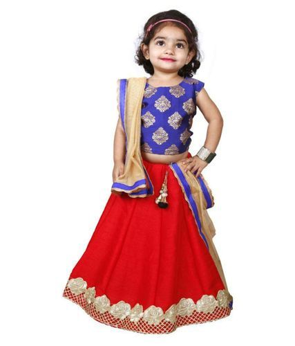 3d534e3d4877 Multicolors Cotton And Georgette Kids Traditional Wear