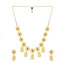 Gold Zinc Alloy Jhankar Plated Elegant Necklace Set, Size: 22.0 Inches
