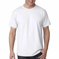 Men's Cotton White Plain T Shirt, Size: S, M & L