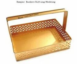 Rectangular Gold Meatal baskets, For Household, Size: 7x9x2 Inches