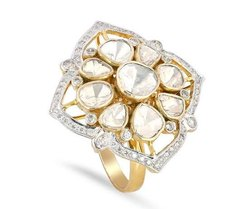 Unisex Golden Kundan Gold Rings Kundan Jewelry, Size: 17 18 19 20 21 22 23 24 25 26