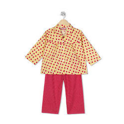 Cotton Red And Yellow Kids Regular Night Suit ddd5af271