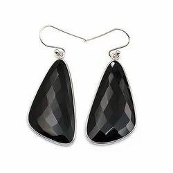 Sparkling Silvex Silver Black Onyx Fancy Shape Earring