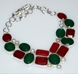 Ruby Emerald and Pearl 92.5 Sterling Silver Necklaces