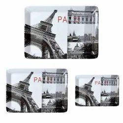 MEHUL CROCKERY Melamine Design - Round Paris (3 Pcs) Serving Tray (Large, Medium & Small)