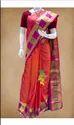 Ladies Orange Pure Silk Saree