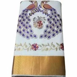 Jeeva Textiles South Cotton Handloom Cotton Saree, 5.5 m (separate blouse piece), Machine Made