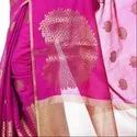 Magenta Cotton Blend Zari Work Banarasi Saree