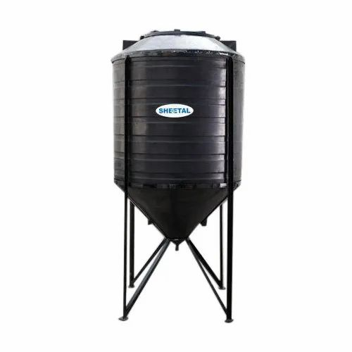 Sheetal Black Conical Water Tank, Capacity: 1000 L
