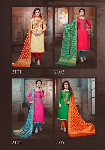 Heavy Embroidered Silk Suits