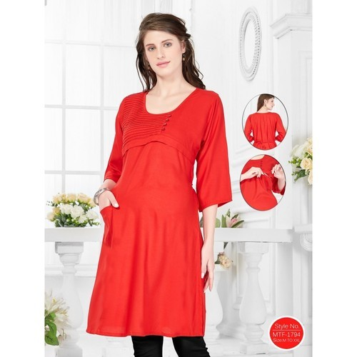 3bc264fbcd Plain Red Feeding Kurti, Rs 1299 /piece, Shubh Shri Clothing India ...