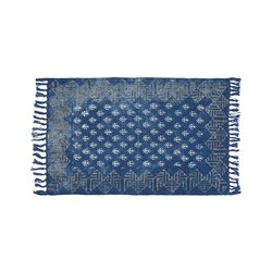 Cotton Block Printed Indigo Rug