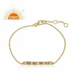 Natural Opal Gemstone Gold Plated Silver Bracelet Jewelry Bar Designer