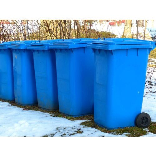 Blue HDPE Wheeled Dustbin, Size: 725 X 580 X 1075 Mm, for Garbage Collection
