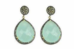 Aqua Chalcedony Pave Diamond Set Earring
