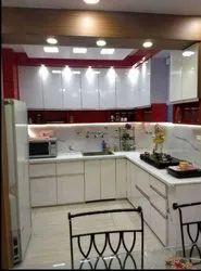 Wooden L Shape Modular Kitchen, Warranty: 5-10 Years