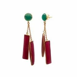 Dyed Ruby & Green Onyx Drop Earrings