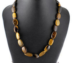 Tiger Stone Oval Beads Necklace