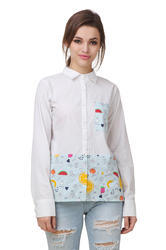 Plain And Floral Printed Cotton Printed Full Sleeve Shirt