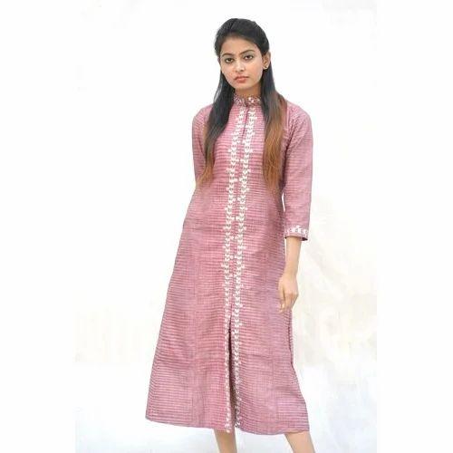 c62ef25c0d34 M And XL Wine Khadi Cotton Maxi Dress In Traditional Gotta Patti