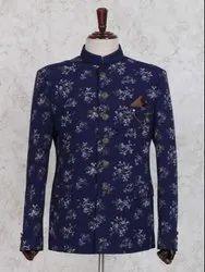 Wedding Wear Cotton Singh Brand Printed Jodhpuri Blue Coat