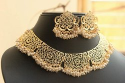 Jali Pattern Choker Necklace Set