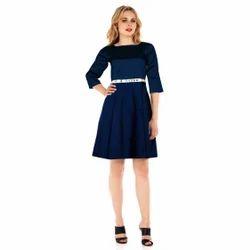 Blue Party Wear Taffeta Silk Western Dress