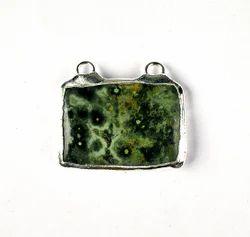 Ocean Jasper Gemstone Silver Electroplated Pendant Necklace