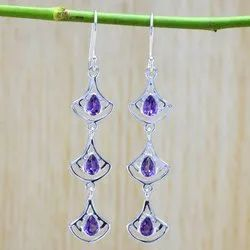 Amethyst Gemstone 925 Sterling Silver Jewellery Earring