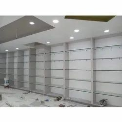 Wall Mounted Glass Shelves, For Supermarket, 4 to 6