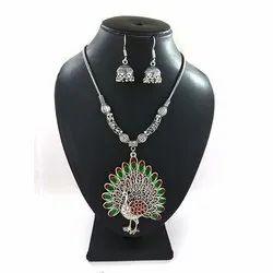 Meena Peacock Pendant Necklace Set