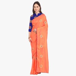 Orange Colored  Poly Silk Casual Saree