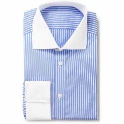 Blue & White Cotton Men's Casual Shirt
