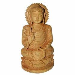 Natural Wooden Kiran Buddha Statue