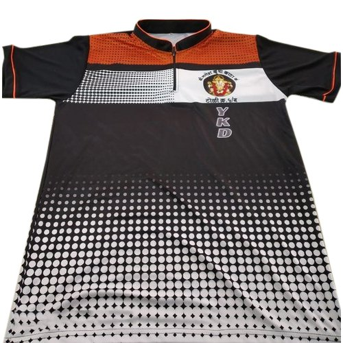Half Sleeve Printed Stand Collar Sports T Shirt