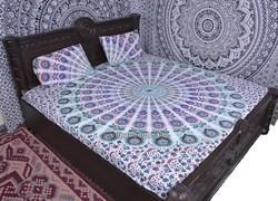 Peacock Print Mandala Duvet Cover