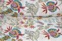 Pure Cotton Handmade Mukut Print Kantha Quilt (White, 60 x 90 Inch)