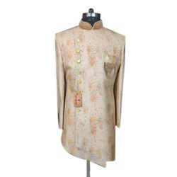 Wedding Wear Printed Silk Indo Western Sherwani, Size: S-xxl