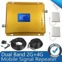 Dual Band 2G 4G Mobile Signal Booster Repeater fully Kit - Coverage 1500 sq. Feet