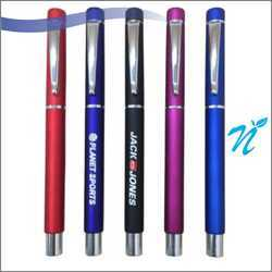 Plastic Roller Pen in Metallic Colours with Chrome Parts