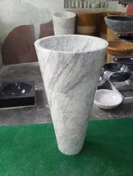 Natural White Marble Stone Pedestal Wash Basin