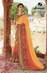Satin Border Laxmipati Multicolor Georgette Saree Dilbaro 5406, Length: 6.30 Mtr