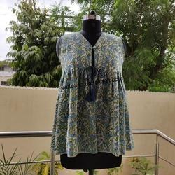 Hand block printed cotton jacket