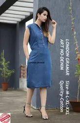 Cotton Blue One Piece Dress