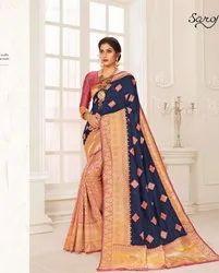 Designer Blue Color Cotton Silk Saree
