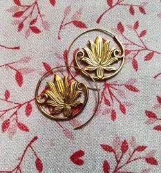 Brass Fashion Earring Lotus Design