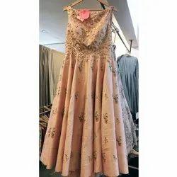 Peach Sleeveless Ladies Designer Wedding Dress